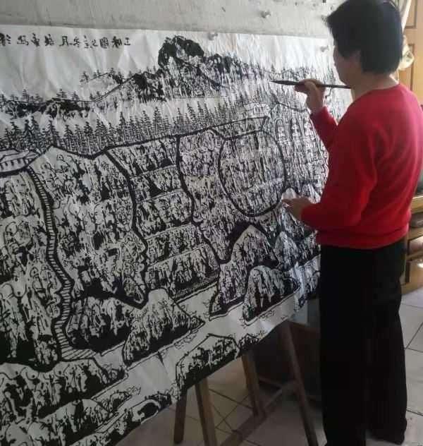 马培童新岩画《三和图》.焦墨山水画创新